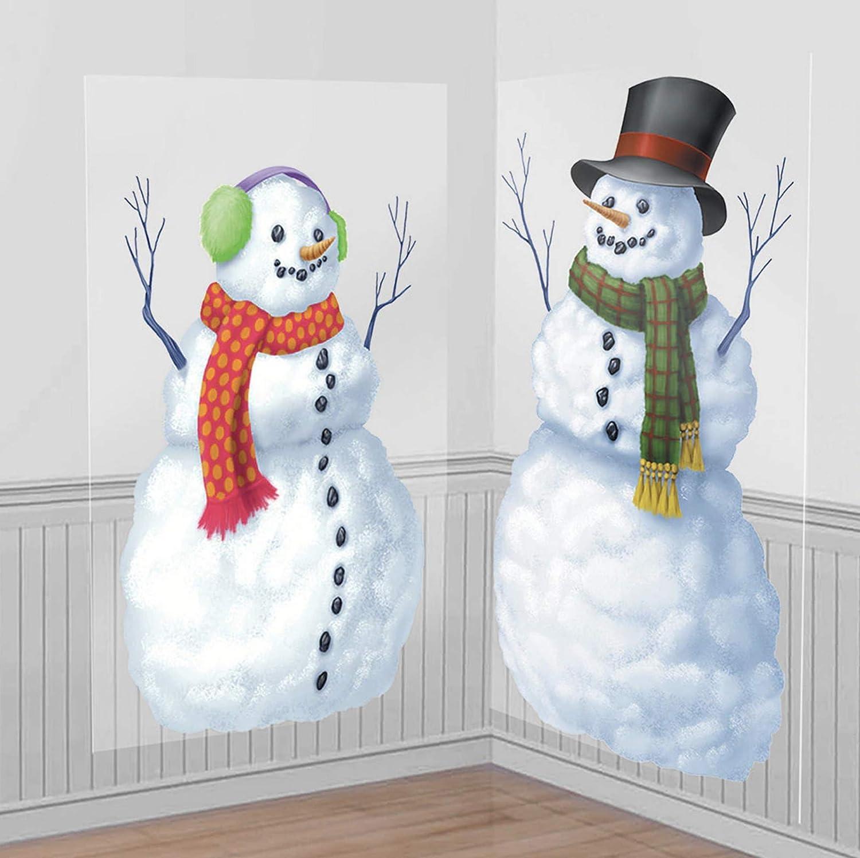 "amscan 672154 Snowmen Scene Setters Add-Ons Christmas Accessory, 2 Ct. | Plastic 65"" x33 1/2"""