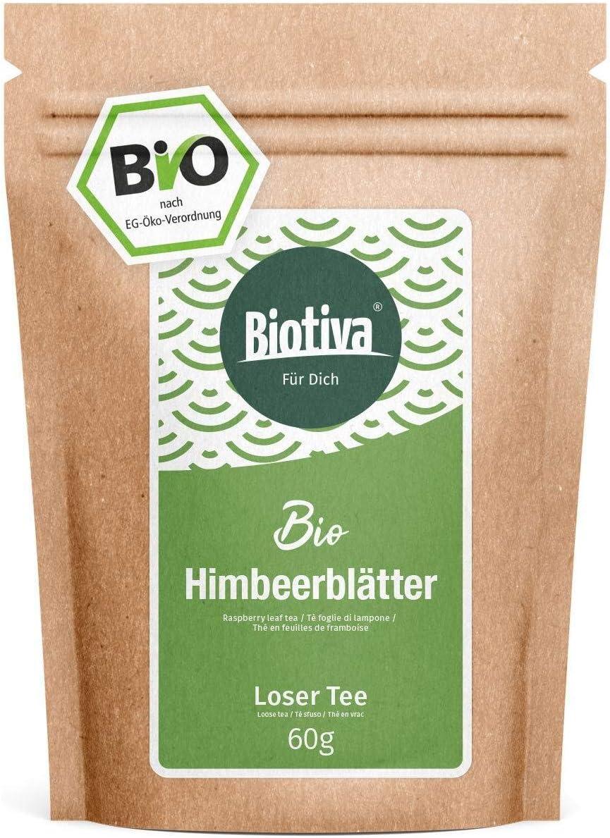 Infusión de hojas de frambuesa orgánica 60 g - hojas muy grandes - suficiente para 40 tazas - recomendado por parteras - llenado y verificado en Alemania (DE-ÖKO-005)