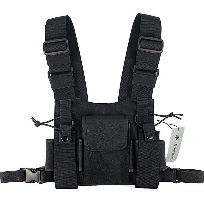 Lewong Universal Radio Chest Harness Bag Pocket Pack Holster  for Two Way Radio (Rescue Essentials)