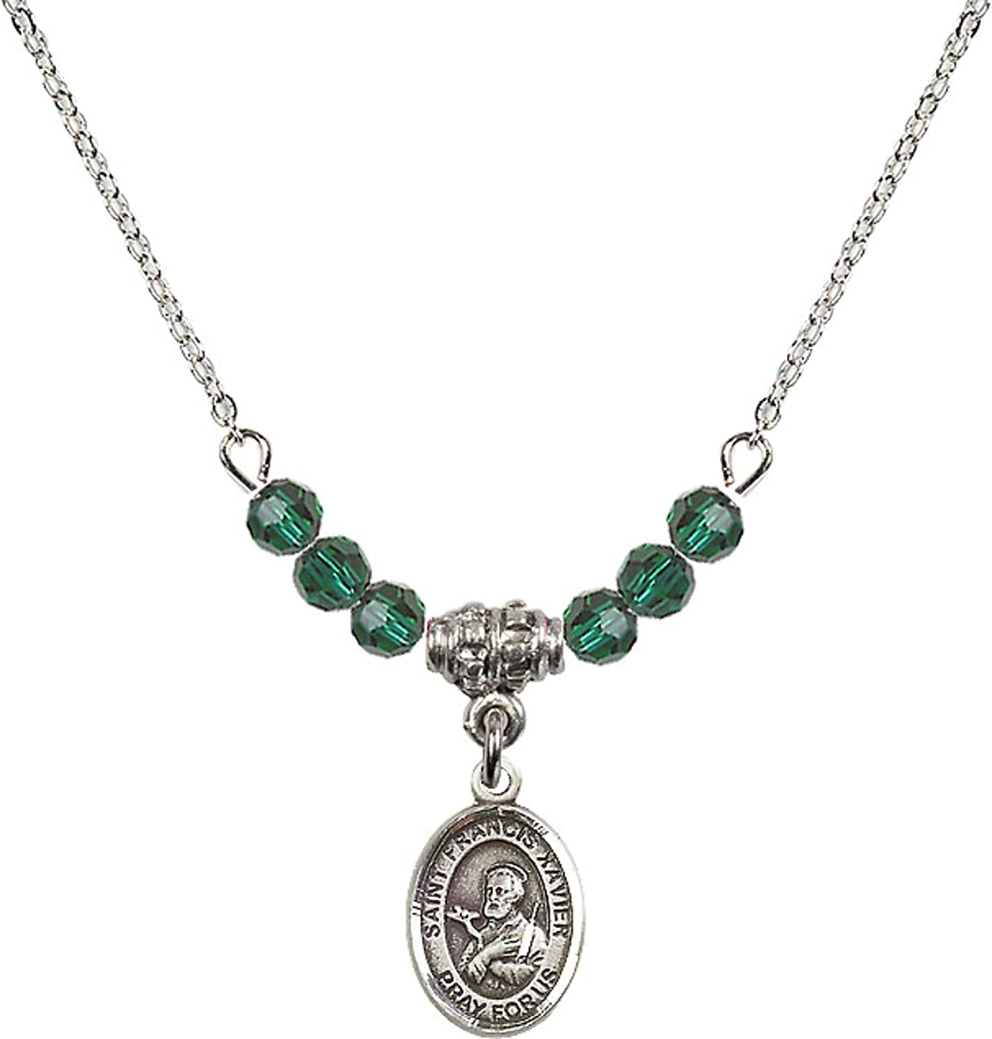 Bonyak Jewelry 18 Inch Rhodium Plated Necklace w// 4mm Green May Birth Month Stone Beads and Saint Francis Xavier Charm