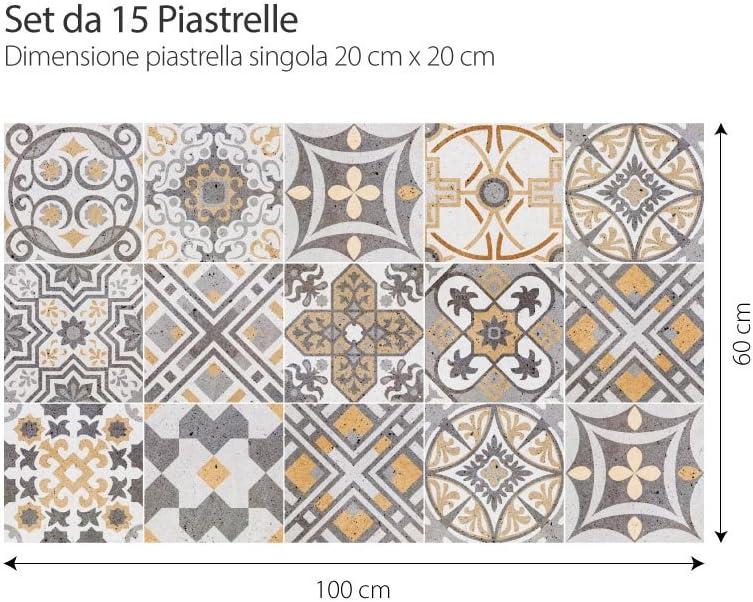 PS00164 Adhesivo Decorativo para Azulejos para ba/ño y Cocina Piezas Adhesivo para Azulejos 20x20 cm Stickers Azulejos Lipsia 15 Collage de Azulejos