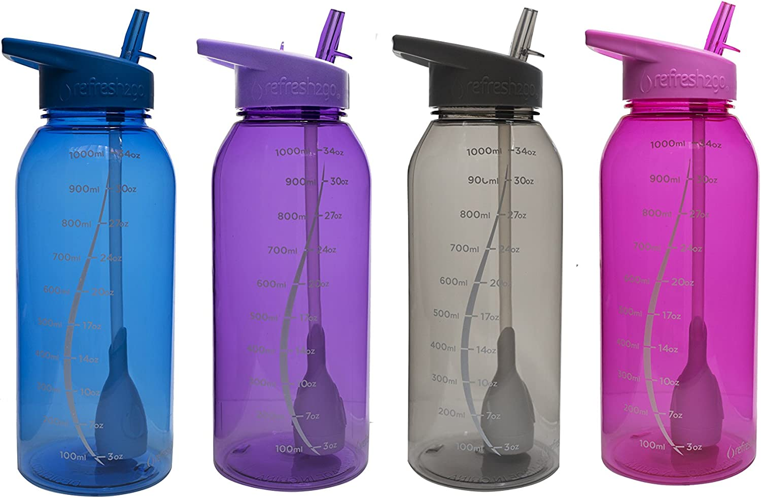 Filtered Water Bottle refresh2go Sleek BPA FREE Pink Purple Lid Straw Filter