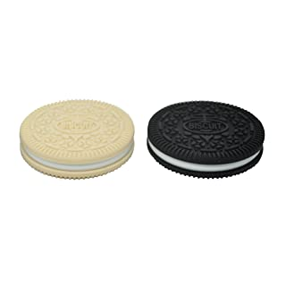 Mamiton 2pcs Mix Color, Silicone Oreo Cookie Baby Teething Toy Sensory Toys Food Grade Chewelry for Baby Gift (Black and Navajo white)