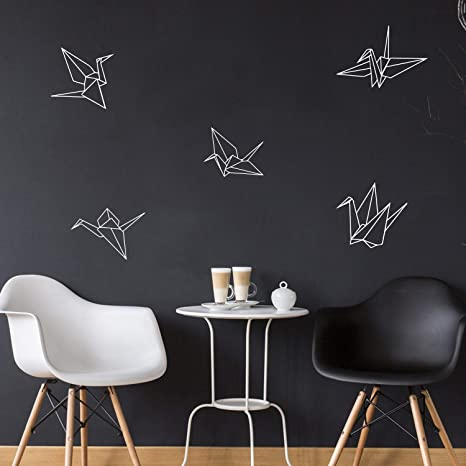 Paper Cranes Home Work Place Origami Stencil Adhesives Trendy Decal For Office Living Room Bedroom Dorm Room Decor Set Of 5 Vinyl Wall Art Decals 9 to 11 each, White Outline 9 To 11 Each