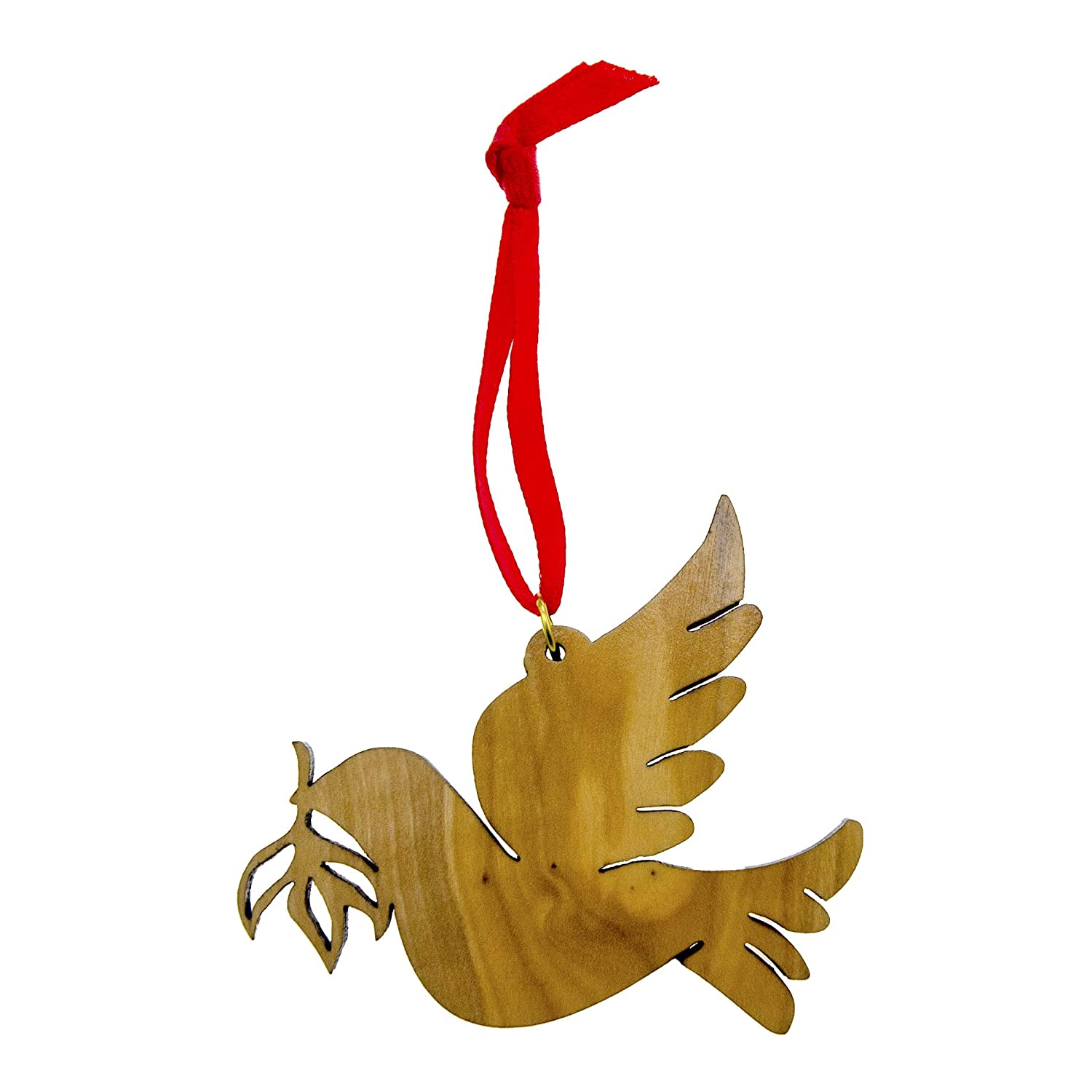 From The Earth - Olive Wood Peace Dove with Olive Branch Christmas Ornament - Fair Trade & Handmade
