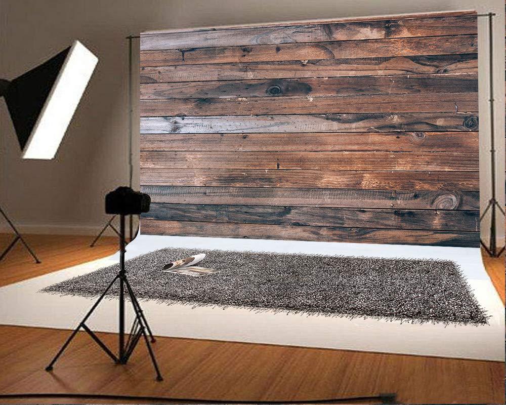 7フィート(幅)x5フィート(高さ)(220x150cm) 木製写真背景 マイクロファイバー 写真スタジオ背景 誕生日 ベビーショー 写真ブース小道具   B07MMQJYX3