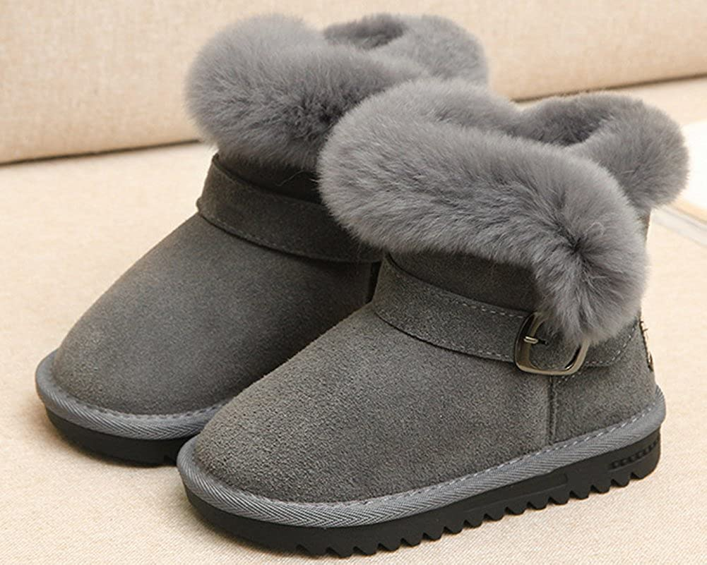HW-GOODS Girls Pure Color Suede Round Toe Anti-Slip Winter Snow Boot Toddler//Little Kid