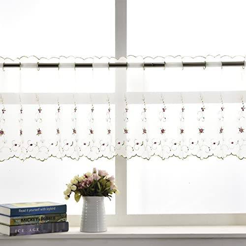 Sheer Cafe Curtains Amazon Com: Sheer White Kitchen Curtains With Leaves: Amazon.com