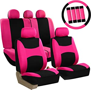 FH Group FB030PINK-COMBO Seat Cover Combo Set with Steering Wheel Cover and Seat Belt Pad (Airbag Compatible and Split Bench Pink)