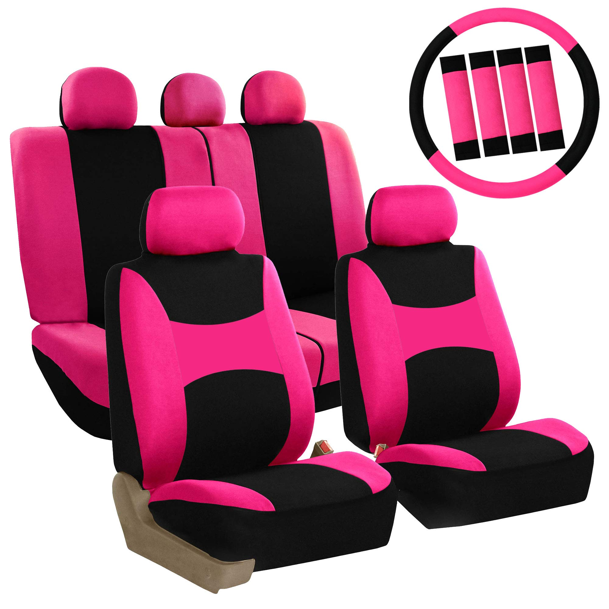 FH Group FB030PINK-COMBO Seat Cover Combo Set with Steering Wheel Cover and Seat Belt Pad (Airbag Compatible and Split Bench Pink) by FH Group