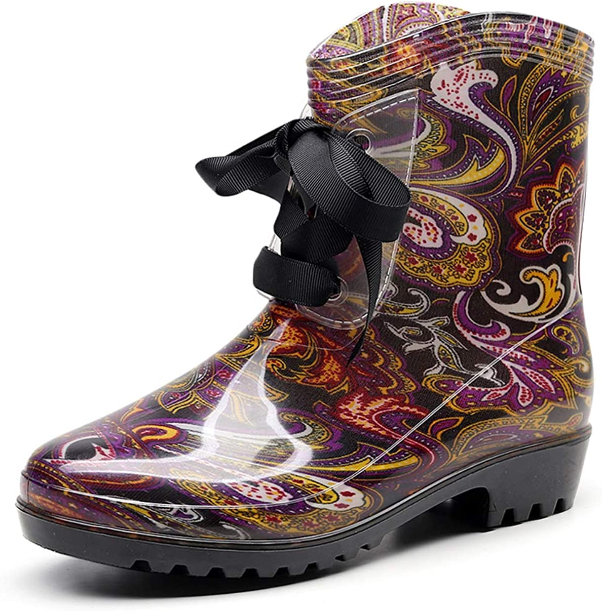 OMGard Rain Boots for Women, Floral Printed Wide Mid Calf Boots Size 8, Half Calf Rubber Low Heel Waterproof Shoes Lace Up, Comfortable Ladies Wellies Rainboots for Garden, Farm, Outdoor Footwear
