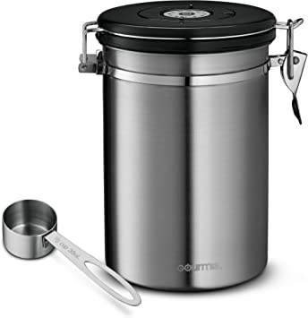 Gourmia GCC9390 Coffee Canister - Stainless Steel Storage container with Airtight Lid, CO2 Vent Valve, Measuring Scoop and Date Tracker Wheel - Holds 1.5lbs Whole Beans or 1.2lbs Grounds, 64 floz