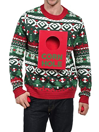 Amazoncom Tipsy Elves Mens Cornhole Christmas Sweater Drinking