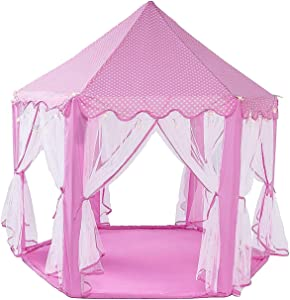 "WoneNice Pink Princess Castle Play Tents, Large Girls Playhouse with Led Star Lights String, Kids Playhouse for Indoor & Outdoor Games- 55""x 53""(DxH)"