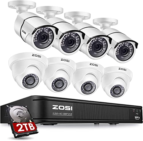 ZOSI 5MP Lite H.265 Home Security Camera System, 8 Channel CCTV DVR Recorder with Hard Drive 2TB and 8 x 1080P 2.0MP Surveillance Bullet Dome Camera Outdoor Indoor, Remote Access, Motion Detection