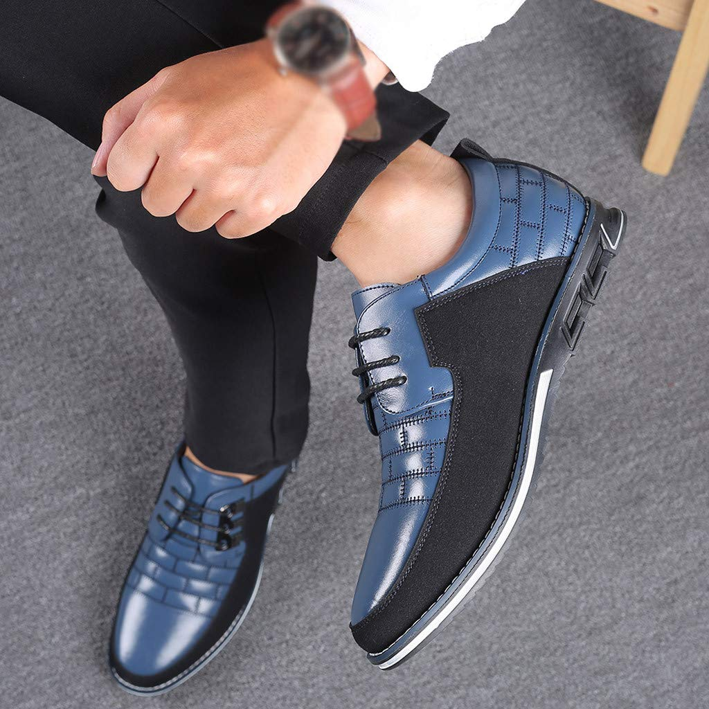 Men Leather Shoes Kstare Mens Fashion Casual Formal Dress Shoe Oxford Sneaker Lace Up Flat Sneakers