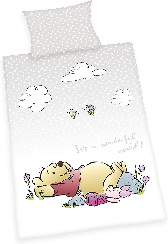 Flannel Pillow Case 40 x 60 cm Reversible Motif Duvet Cover 100 x 135 cm Herding WINNIE THE POOH Toddler Bedding Set