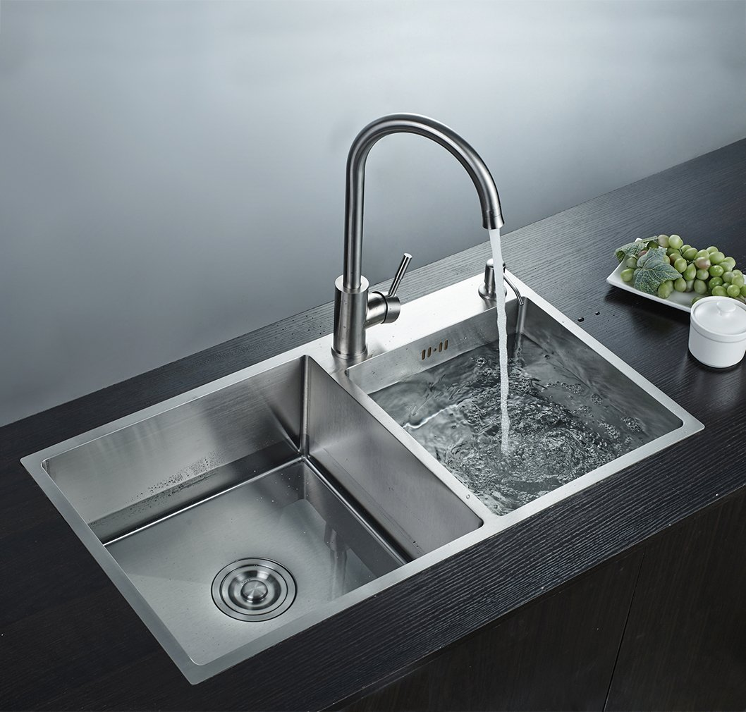 AuraLum Double Bowl Bar Sink, 30-inch Brushed Stainless Steel ...