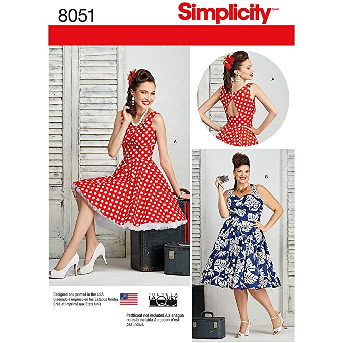 1950s Sewing Patterns | Dresses, Skirts, Tops, Mens Simplicity 8051 1950s Vintage Fashion Womens Pin Up Dress Sewing Pattern by Theresa Laquey Sizes 10-18 $7.83 AT vintagedancer.com