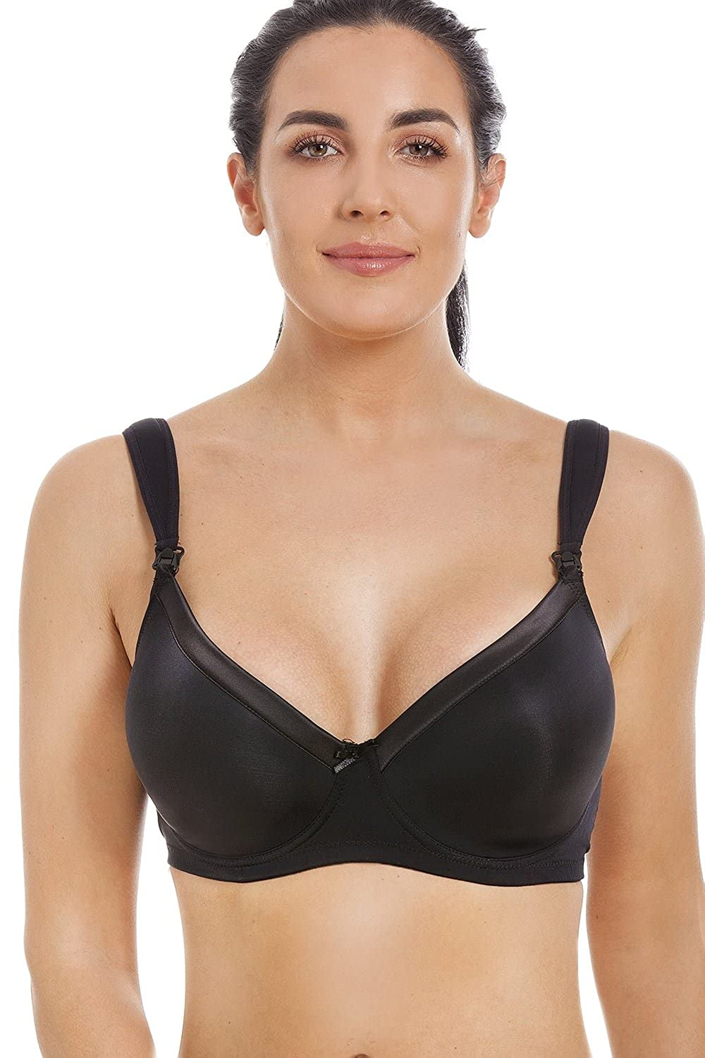 Camille Womens Ladies Black Satin Moulded Cup Underwired Nursing Bra