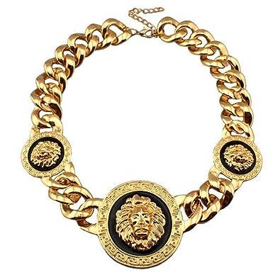 e0477c41b5c451 Amazon.com: K-DESIGN : Fashion 3 Metal Lion Head Chunky Acrylic Chain  Necklace Statement Jewelry Bib Collar Chokers Necklaces Gold Color Bijoux:  Jewelry