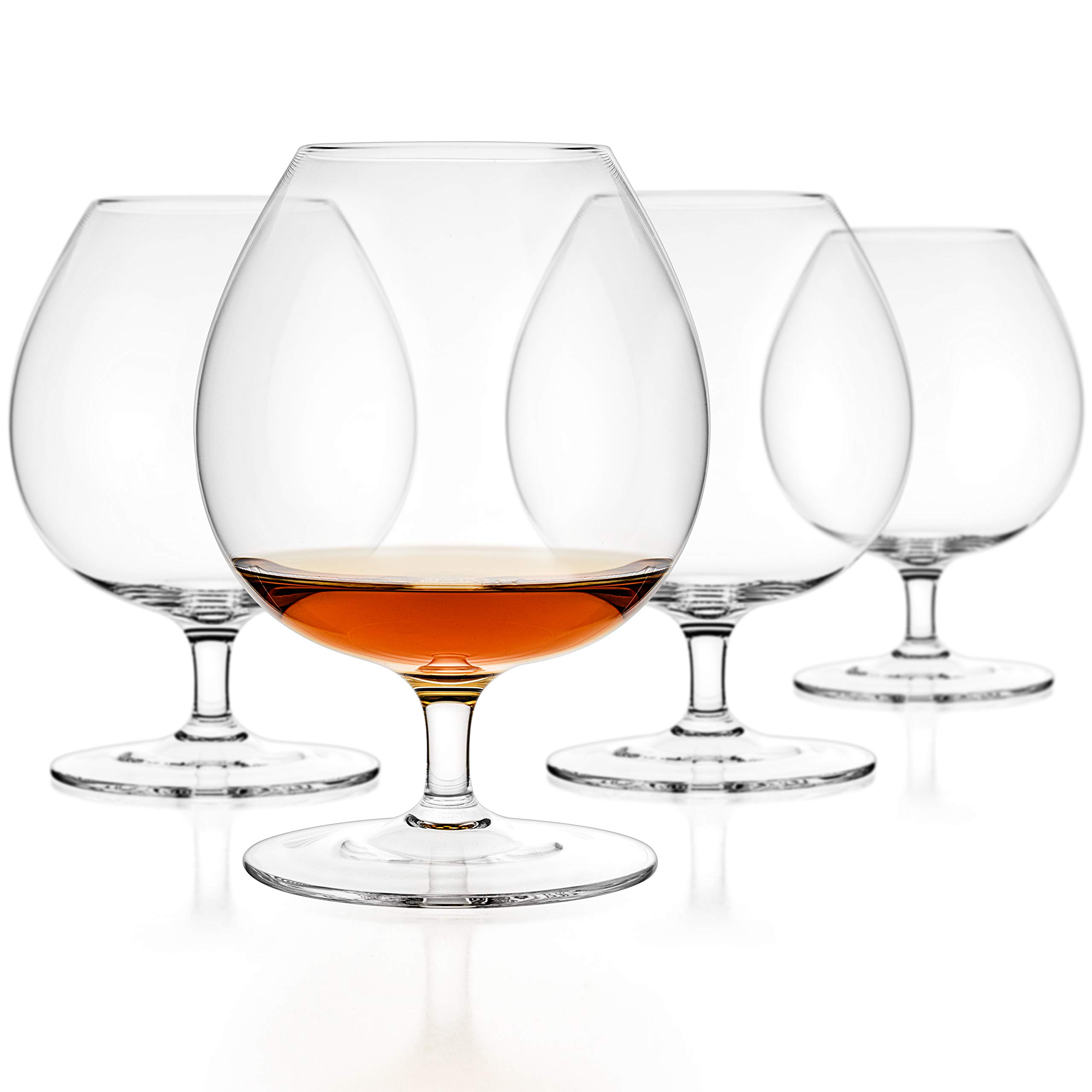 Luxbe - Brandy & Cognac Crystal Glasses Snifter, Set of 4 - Large Handcrafted - 100% Lead-Free Crystal Glass - Great for Spirits Drinks - Bourbon - Wine - 25.5-ounce by Luxbe