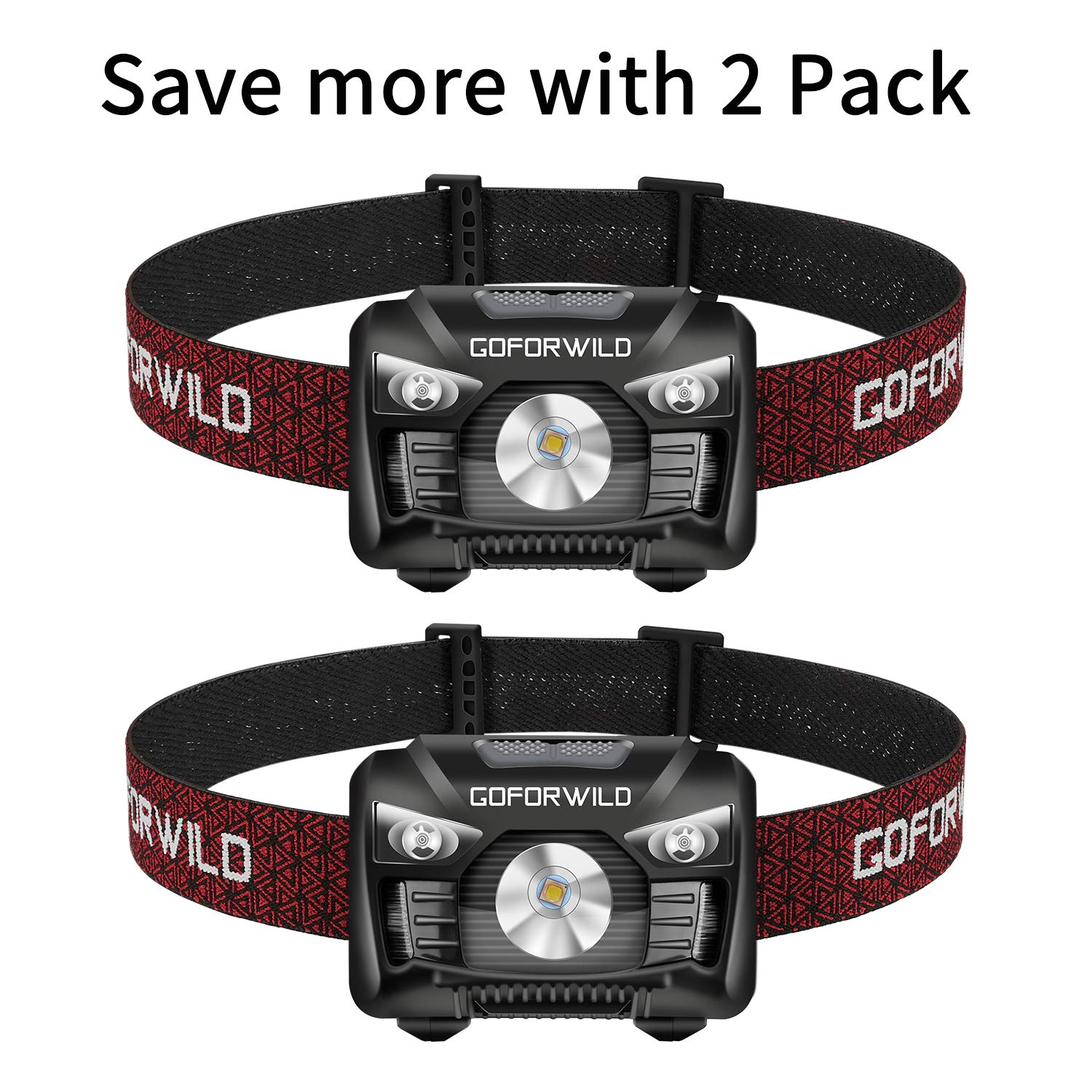 2 Pack of Rechargeable Headlamp, 500 Lumens White Cree LED Head lamp with Red light and Motion Sensor Switch, Perfect for Running, Hiking, Lightweight, Waterproof, Adjustable Headband, 5 Display Modes by GOFORWILD