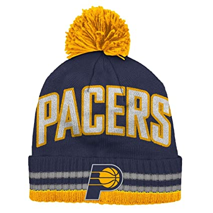 f2568013268 Amazon.com   Indiana Pacers Bold Wordmark Striped Cuff Pom Knit ...