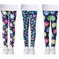 L SERVER Niñas Leggings Estampados Elásticos Primavera Otoño Pantalones Deportivos Cómodos para Niñas Paquete de 3…