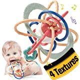 Baby Teething Toys for Babies 0-6-12 Months 4 Textures, Baby Toys 3-6 Months Baby Rattle Baby Teether Teethers for Babies, In