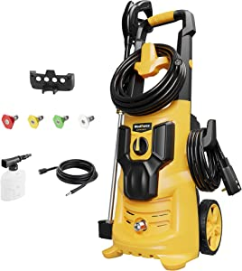 WestForce Electric Pressure Washer, 2950 PSI 1.76 GPM Electric Power Washer, 1600 W Powerful High Pressure Cleaner Machine with 4 Nozzles & Soap Bottle