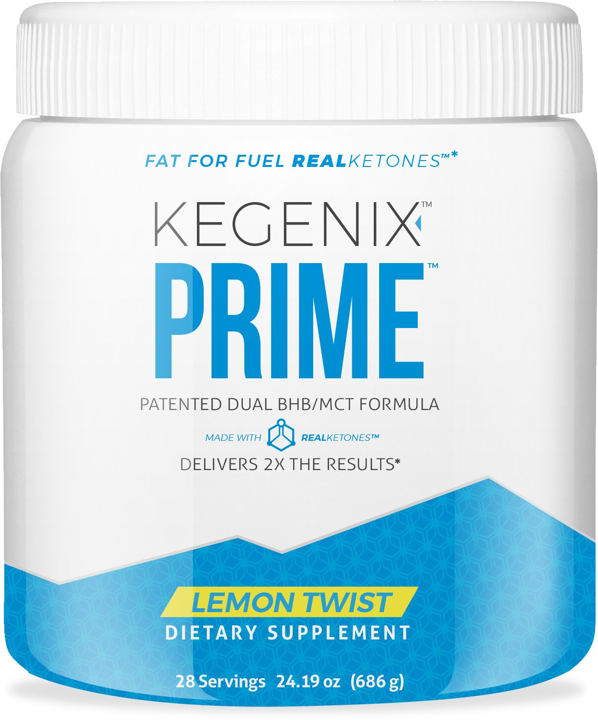 Kegenix Prime Lemon Twist Keto BHB Salts + MCT Oil Exogenous Ketones Ketogenic Diet Supplement by Real Ketones. Best Flavor Patented Ketosis Formula to Produce Ketones Naturally & Appetite Suppressant by KEGENIX