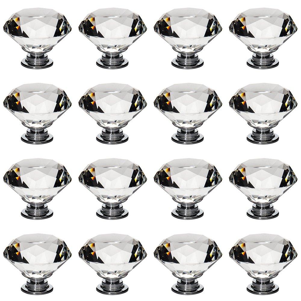 Lot de 16 boutons de meubles 40 mm en verre cristal  en forme de diamant Pour armoire tiroir porte placard Librao