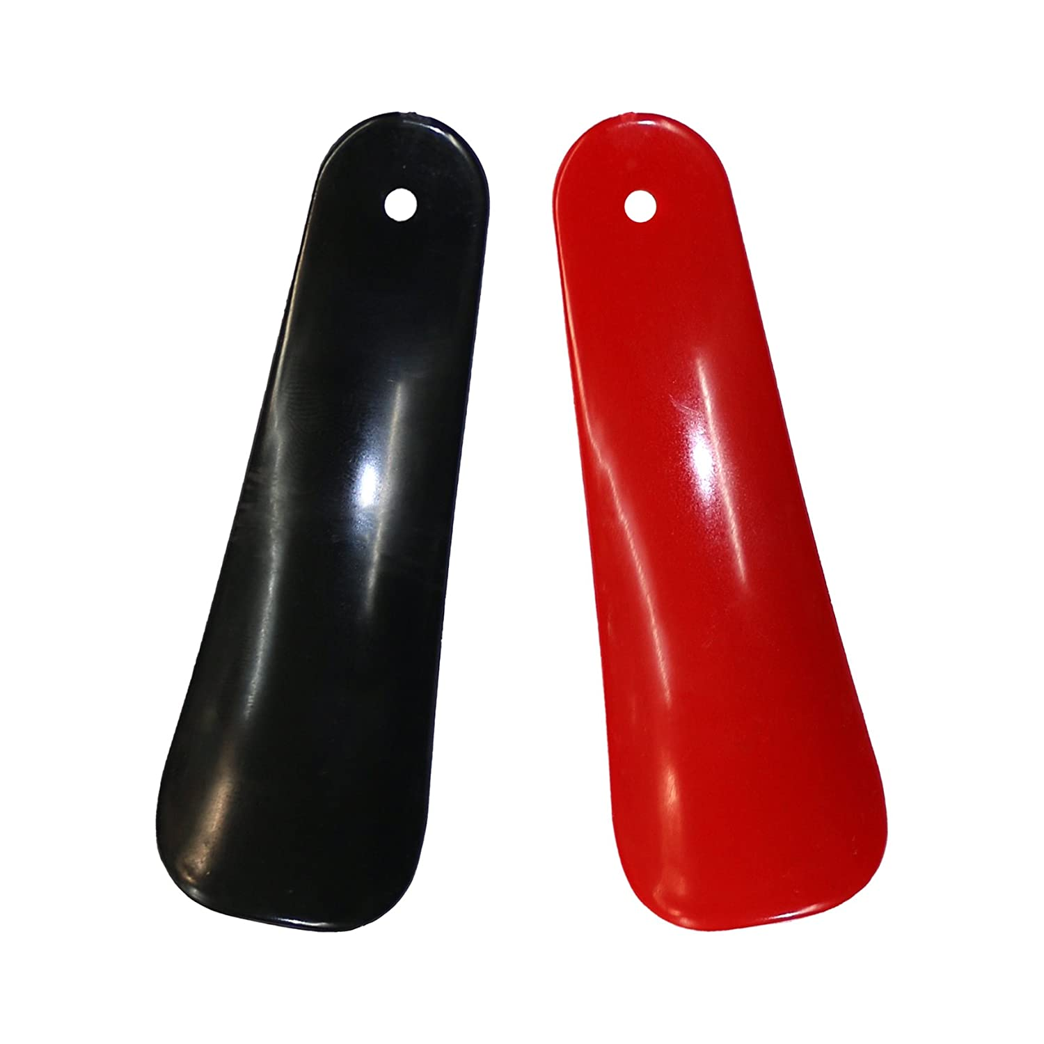 2 x Small 11cm Plastic Shoe Horns with Hanging Hole - Black & Red