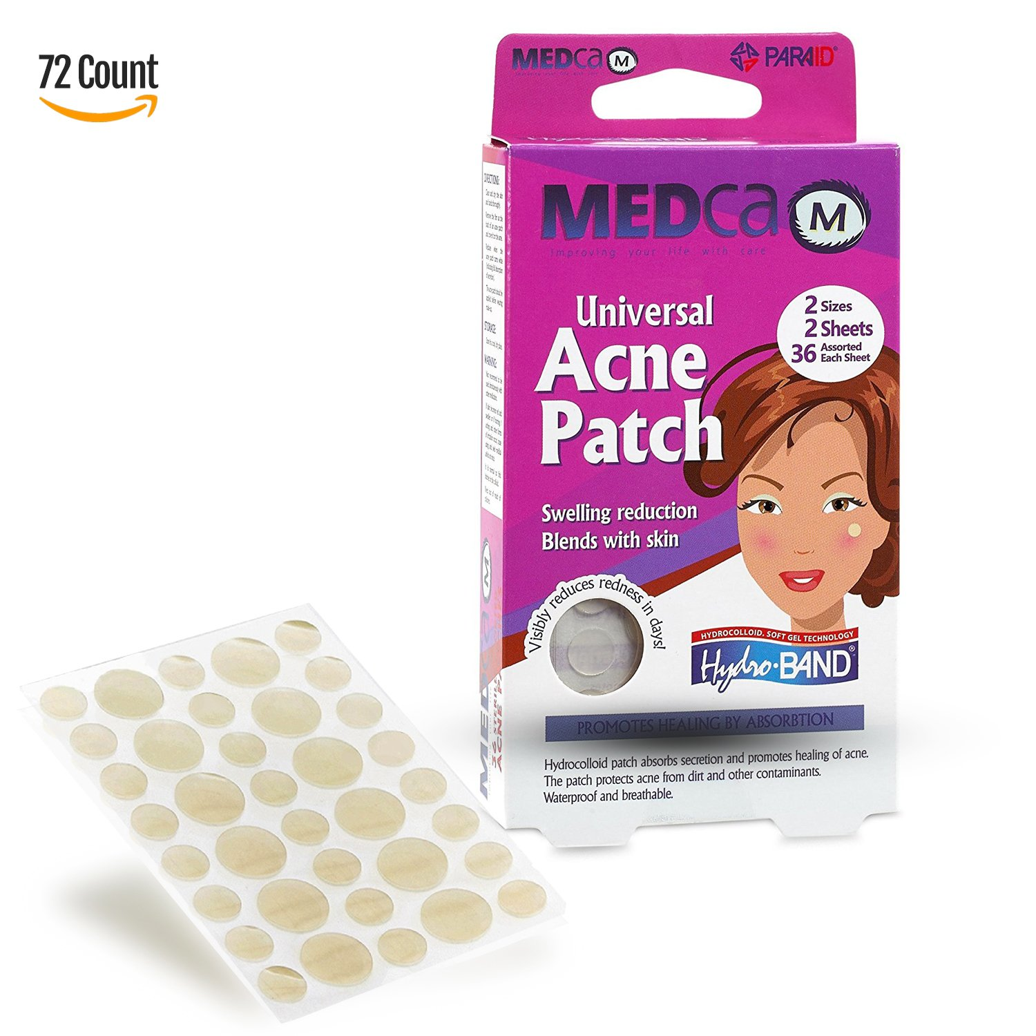 Acne Spot Dots - 72 Count, Hydrocolloid Acne Pimple Care Patches Absorbing Spot Dots Round Blemish Covers MEDca PA-5010