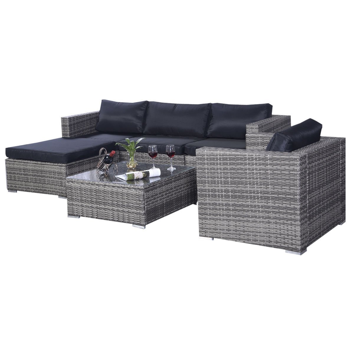 Amazon com  Tangkula 6 Pcs Outdoor Wicker Furniture Set Sofas Ottoman with  Cushions Gradient Gray  Garden   Outdoor. Amazon com  Tangkula 6 Pcs Outdoor Wicker Furniture Set Sofas