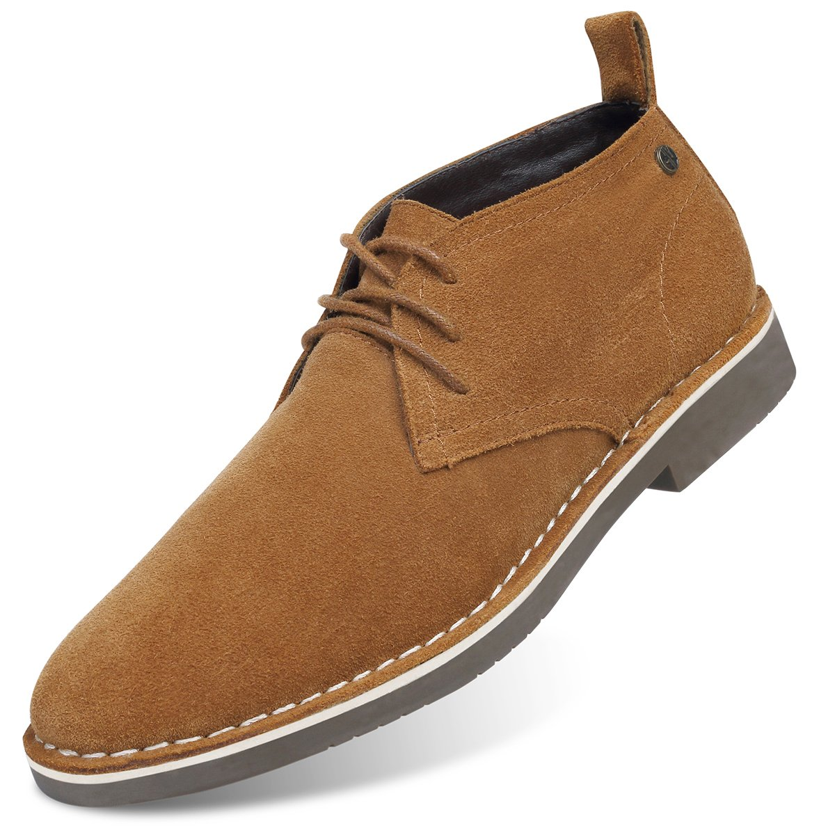 GM GOLAIMAN Genuine Suede Chukka Boots Men Lace-Up Desert Ankle Booties Stylish Leather Shoes