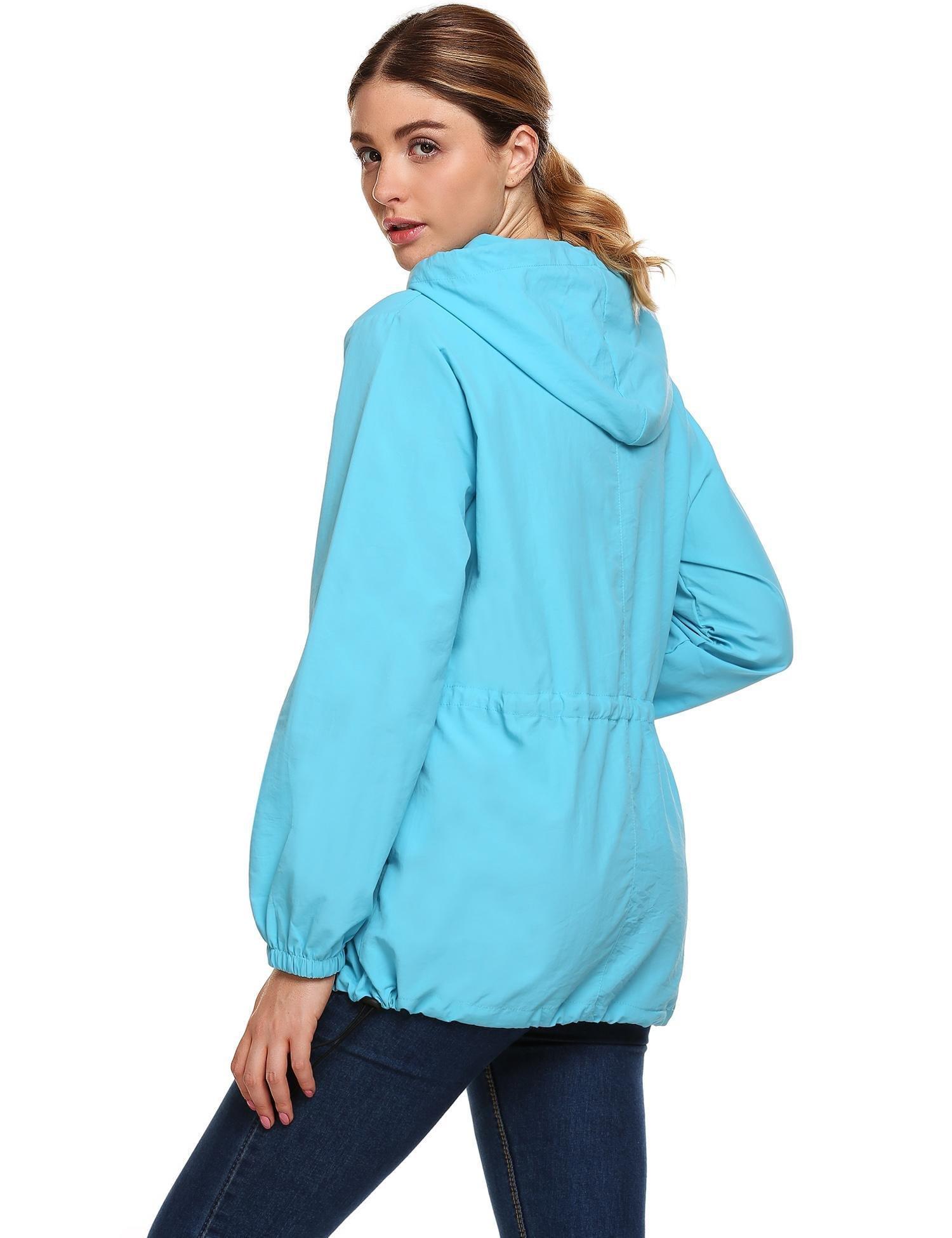 FineFolk Women Waterproof Lightweight Hood Reflective Outdoor Raincoat Windbreaker Rain Jacket Black