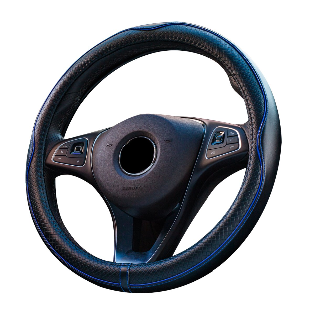 Car Genuine leather Steering Wheel Cover Universal 15 inch/38CM Breathable Anti-slip Auto Wheel Sleeve Protector, Good Grip (Black+Blue) SAND-H