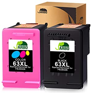 JARBO Remanufactured for HP 63XL Ink Cartridges Combo Pack, 1 Black+1 Tri-Color, with Ink Level Display, Used in HP Envy 4520 4516 Officejet 4650 3830 3831 4655 Deskjet 2130 2132 1112 3630 3633 3634