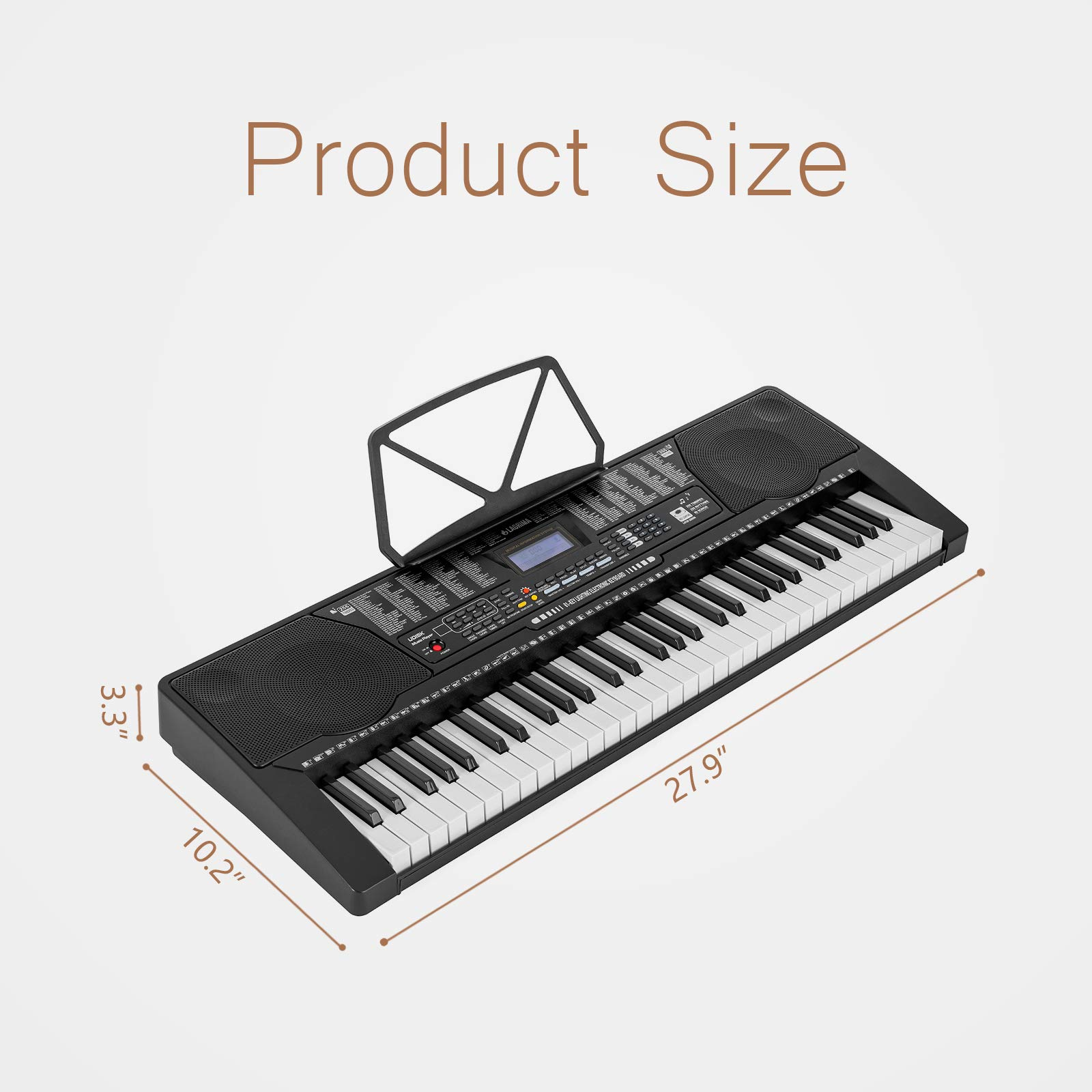 LAGRIMA 61 Key Electric Keyboard Piano w/Light Up Keys for Beginner, Lighted Portable Keyboard w/Music Player Function, Micphone, Power Supply, Music Stand, Black by LAGRIMA (Image #7)