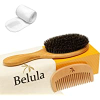 100% Boar Bristle Hairbrush Set. Soft Natural Bristles for Thin and Fine Hair. Restore Shine And Texture. Wooden Comb…