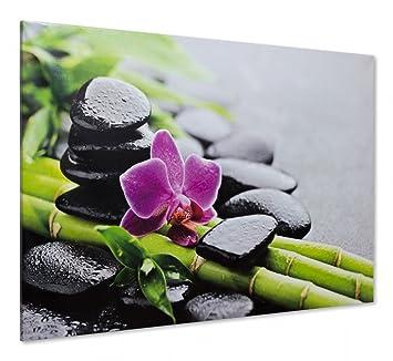 Keilrahmen Leinwand Bild Wandbild 60x90 Wellness Steine Orchidee