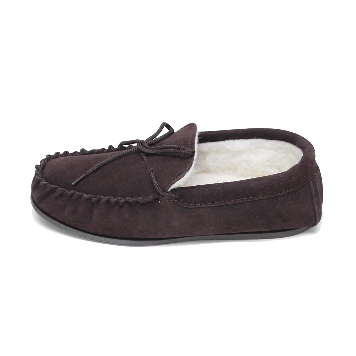 dbd93839f3f Deluxe Mens Lambswool Moccasin Slippers with Hard Sole - Suede Upper   Amazon.co.uk  Shoes   Bags