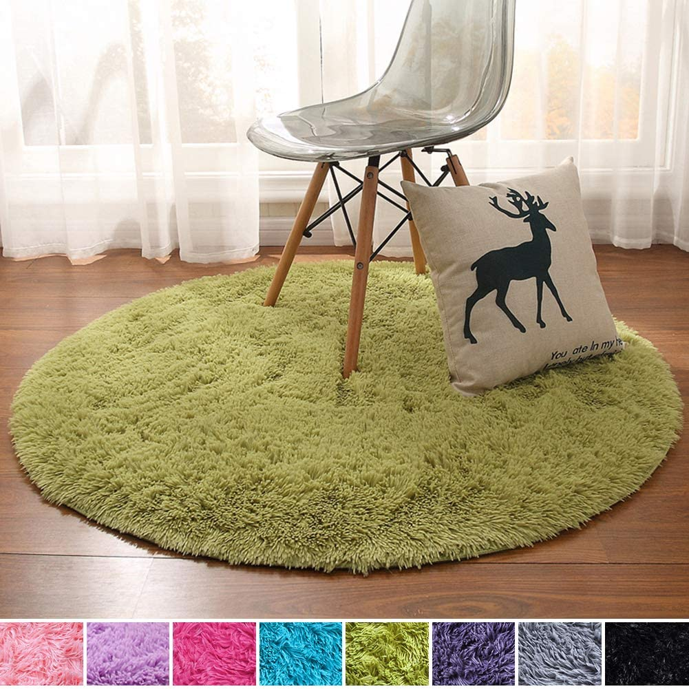 Noahas Luxury Round Rugs for Princess Castle Ultra Soft Play Tent Rug Circular Area Rugs for Kids Baby Bedroom Shaggy Circle Playhouse Carpet Nursery Rugs, 4 ft Diameter, Green