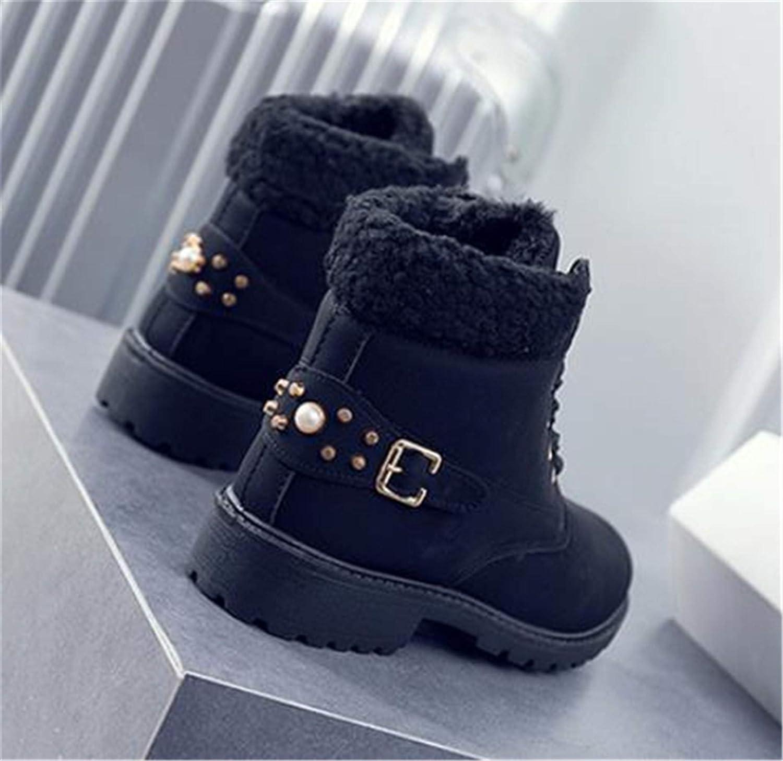 Botas Nieve Mujer Otoño Invierno Calentar Piel Forro Botines Retro Snow Boots Cordones Zapatillas Planas Negro Caqui Gris Rosa 36 43
