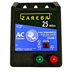 Zareba EAC25MZ 25 Miles AC Low Impedance Electric Fence Charger; Powers up To 25 Miles of Fence; Low-Impedence Design Maintains Maximum Energy on Fence; Works in Heavy Weed Condition; Made in the USA