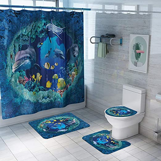 Amazon Com Bathroom Sets With Shower Curtain And Rugs And Accessories Stylish Shower Curtain Set With Non Slip Rug Toilet Lid Cover Bath Mat And 12 Hooks C Curtain Bath Rug U Pad Toilet Cover Kitchen Dining