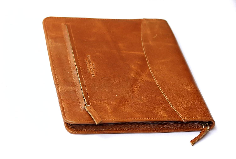 THE LEATHER WAREHOUSE Cartoncino professionale in pelle con portamonete professionale con cerniera compatibile L-12.8H 1 Marrone 10.2 W