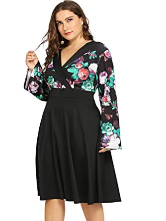 2544c5a6912 Amazon.com  Milumia Women Plus Size Floral Wrap V Neck Vintage Midi ...